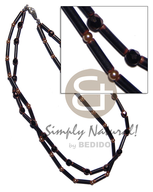 2 rows agsam bamboo Multi Row Necklace