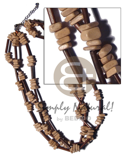 3 rows agsam bamboo Multi Row Necklace