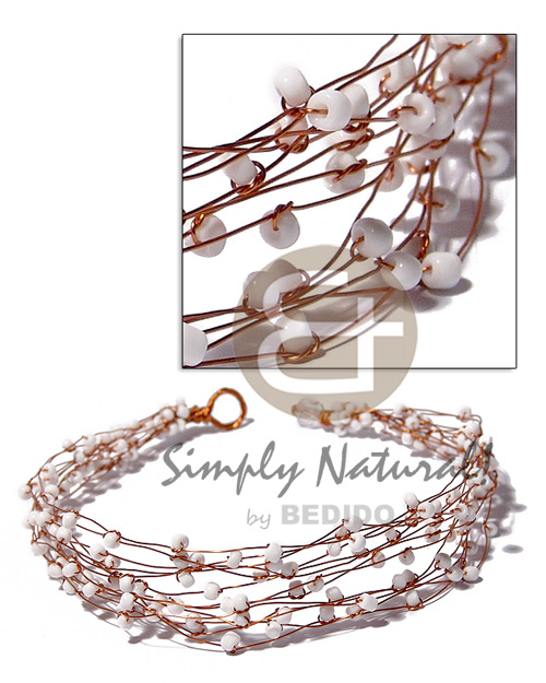 13 rows copper wire choker Multi Row Necklace