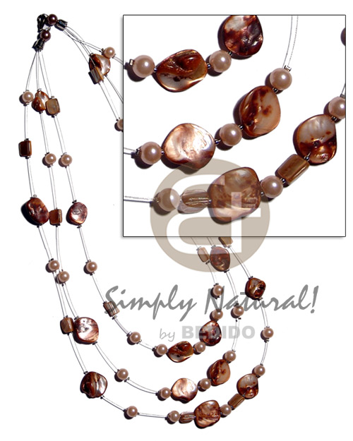 Floating golden brown kabibe shell Multi Row Necklace