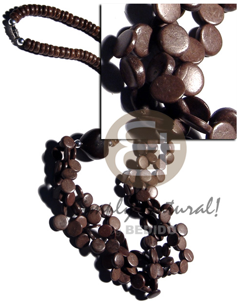 7-8mm coco pokalet. natural brown Multi Row Necklace