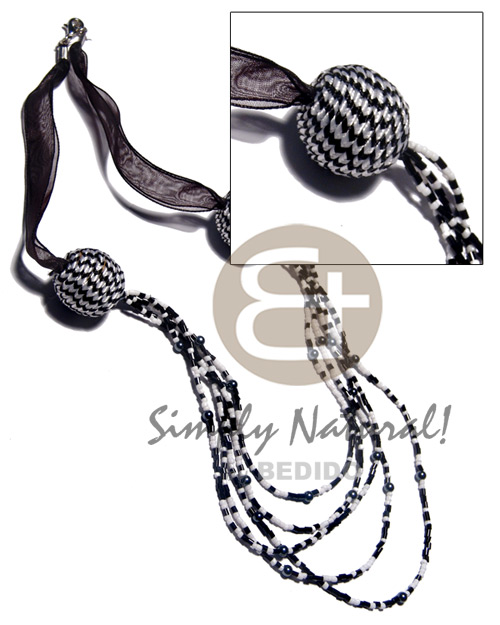 5 r0ws black white glass beads Multi Row Necklace