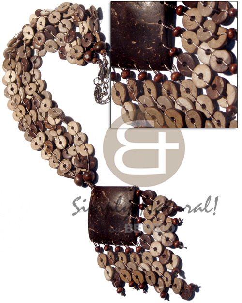 3 rows 10mm floating coco Multi Row Necklace