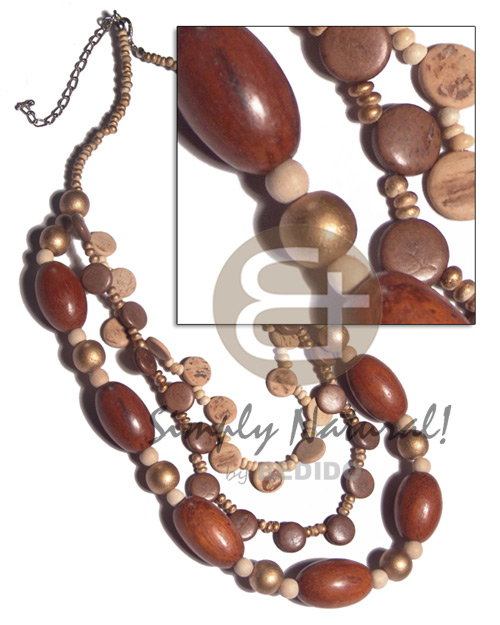 2-3mm coco Pokalet in gold tones  graduated 3 layers 10mm coco side drill  and oval 25mmx15mm wood beads combination  /  14in/16in/18in / ext. chain - Multi Row Necklace