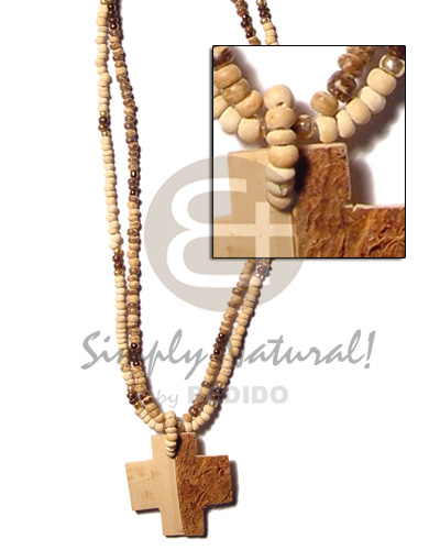 hand made 2 rows coco pokalet nat tiger.beads Multi Row Necklace