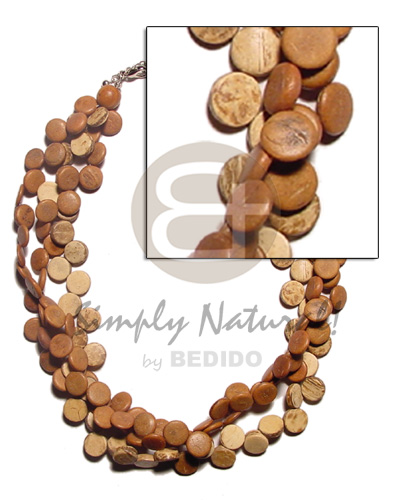 3 rows tan coco sidedrill Multi Row Necklace