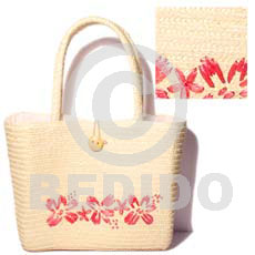 pandan bag with pink straw and inner lining -  l=10.5 in. w= 8.5 in. base = 4 in. - Native Bags