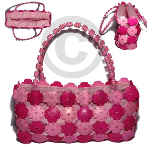 hand made Two toned pink coco flowers Native Bags
