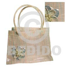 Sinamay green tones flower plastic Native Bags