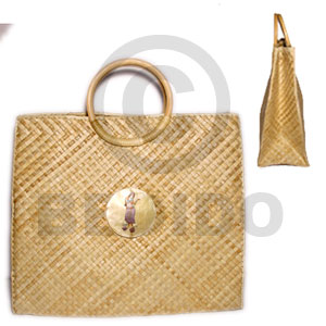 Pandan with rattan handle large Native Bags