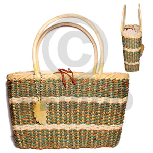 Rattan handle with abaca large Native Bags