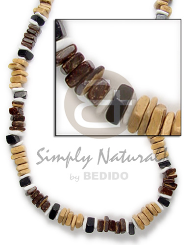 Sq cut brown black nat combination white Natural Earth Color Necklace