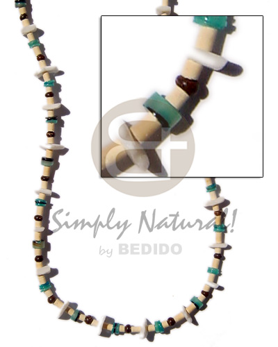 2-3mm coco heishe bleach Natural Earth Color Necklace