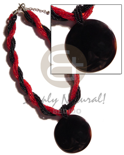 12 rows red black twisted Natural Earth Color Necklace