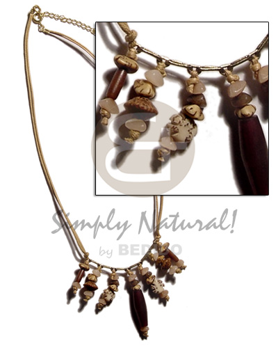 Dangling asstd. buri seeds Natural Earth Color Necklace