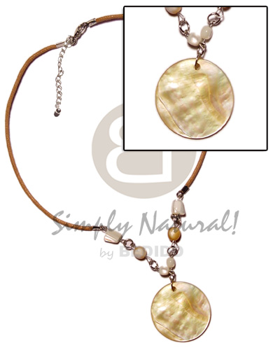 40mm round mop pendant Natural Earth Color Necklace