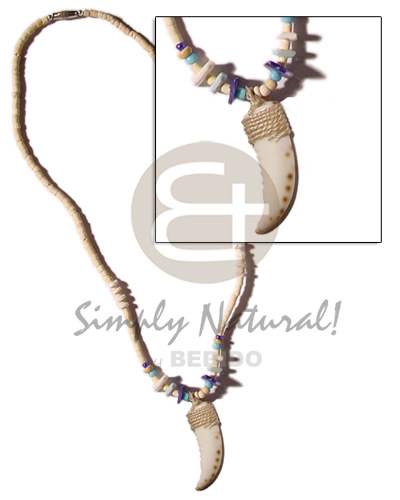hand made Cowrie shell fangs pendant in Natural Earth Color Necklace