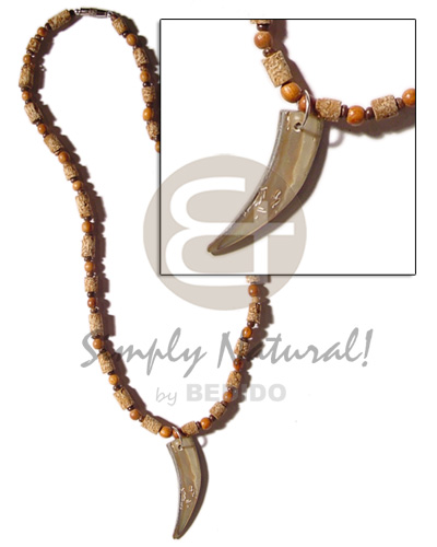 Mahogany cylinders wood beads Natural Earth Color Necklace