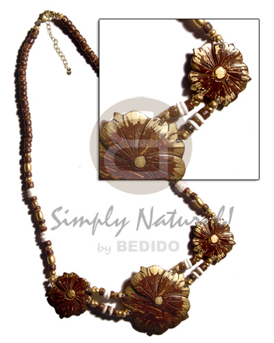 3 coco flowers gold Natural Earth Color Necklace