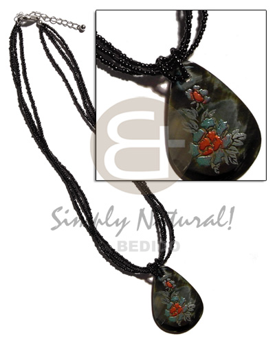 3 layer black glass bead Natural Earth Color Necklace