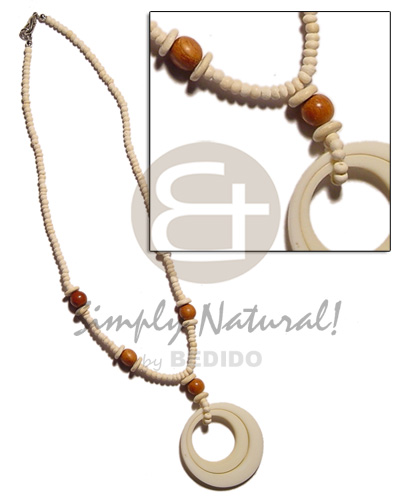40mm double ring white bone Natural Earth Color Necklace
