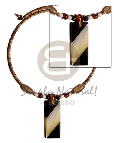 hand made 50mmx20mm inlaid back to back Natural Earth Color Necklace