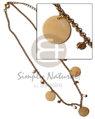 hand made Dangling 20mm round melo shell Natural Earth Color Necklace