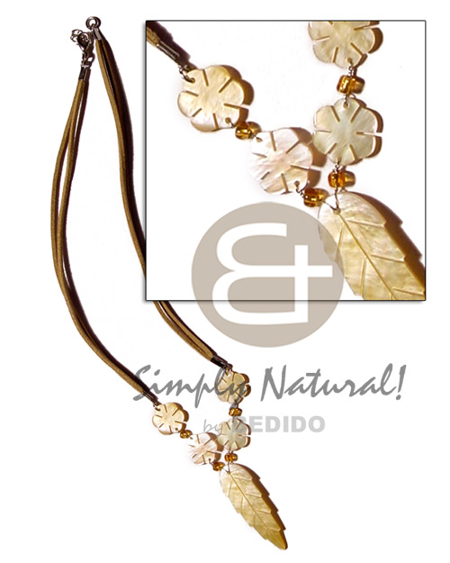 hand made Mop leaf flowers on Natural Earth Color Necklace