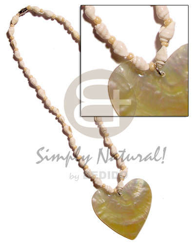 Nassa white glass beads Natural Earth Color Necklace
