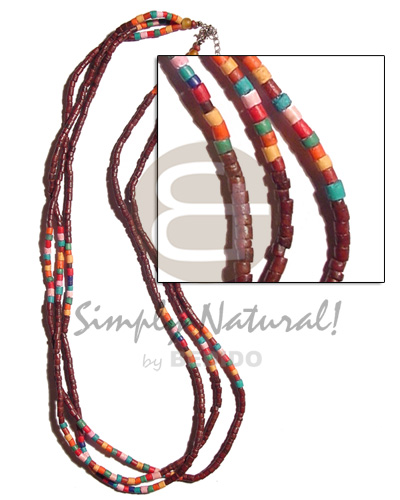 2-3mm maroon coco heishe Natural Earth Color Necklace