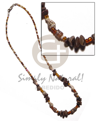 Glass beads nassa buri nuggets Natural Earth Color Necklace