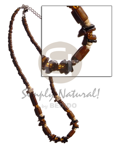 2-3mm natural brown coco heishe Natural Earth Color Necklace