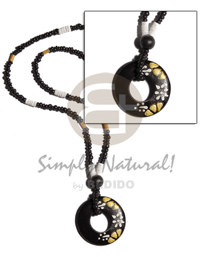 2-3mm black coco pokalet. Natural Earth Color Necklace