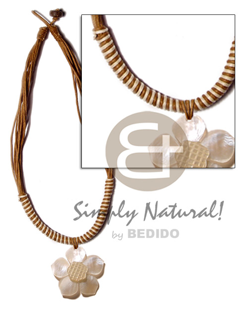 8 layers wax cord Natural Earth Color Necklace
