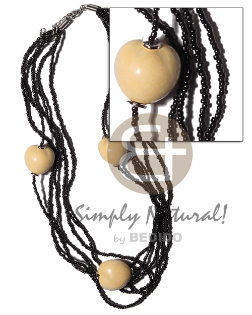 White kukui nuts in 5 Natural Earth Color Necklace