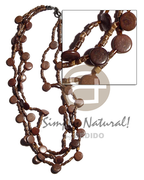 3 rows 2-3mm natural brown Natural Earth Color Necklace