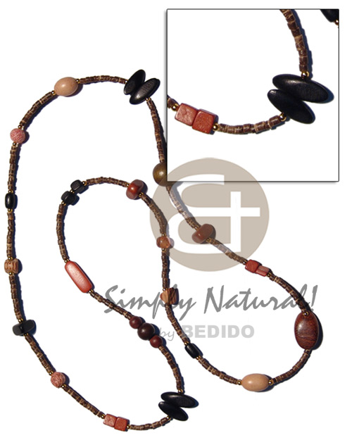 hand made 36 in. 2-3mm coco heishe Natural Earth Color Necklace