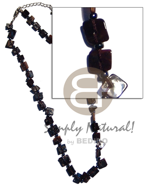 Floating blacktab chips Natural Earth Color Necklace
