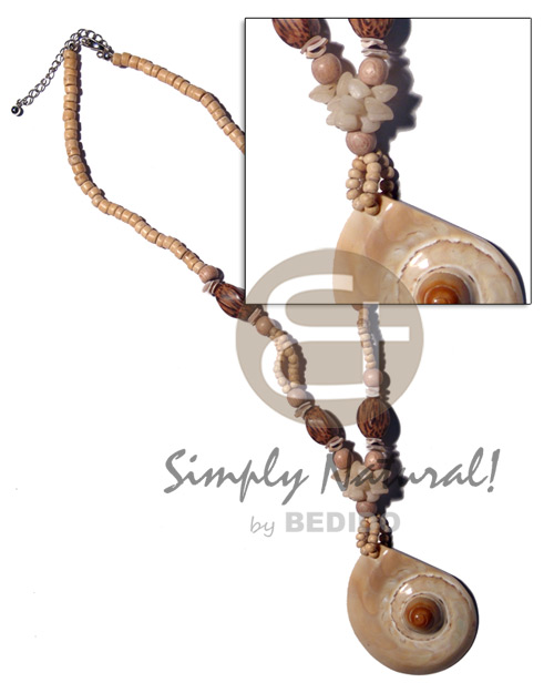 Cone melo in 4-5mm coco Natural Earth Color Necklace