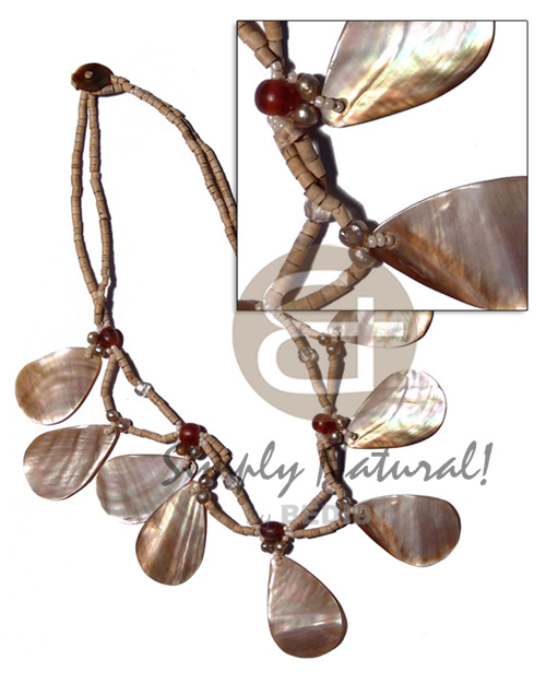 30mm dangling brownlip teardrops in Natural Earth Color Necklace
