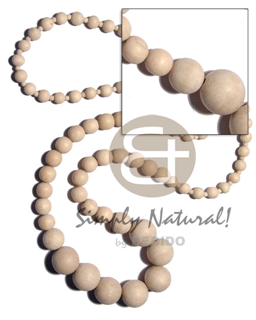 Graduated natural white wood beads Natural Earth Color Necklace