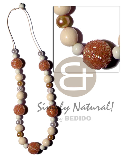 20mm wrapped wood beads in Natural Earth Color Necklace