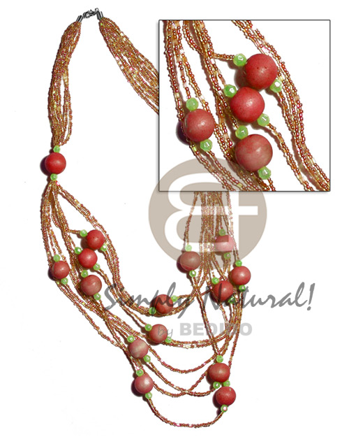5 rows graduated multilayered Natural Earth Color Necklace