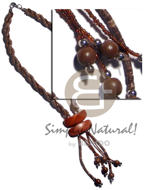 hand made 4 rows - 4-5mm coco Natural Earth Color Necklace