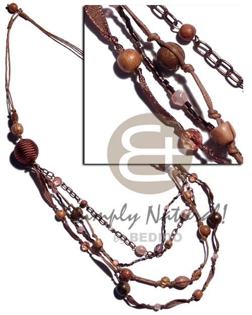 Brown tones 2 layers wax Natural Earth Color Necklace