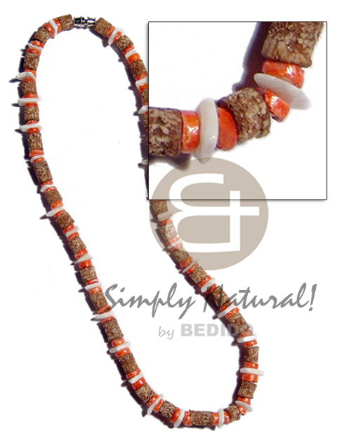Mahogany 4-5mm orange coco Natural Earth Color Necklace