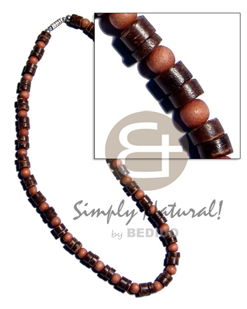 7-8mm natural brown coco heishe Natural Earth Color Necklace