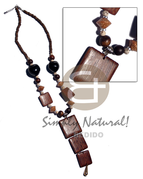 4-5mm natural brown coco pokalet. Natural Earth Color Necklace