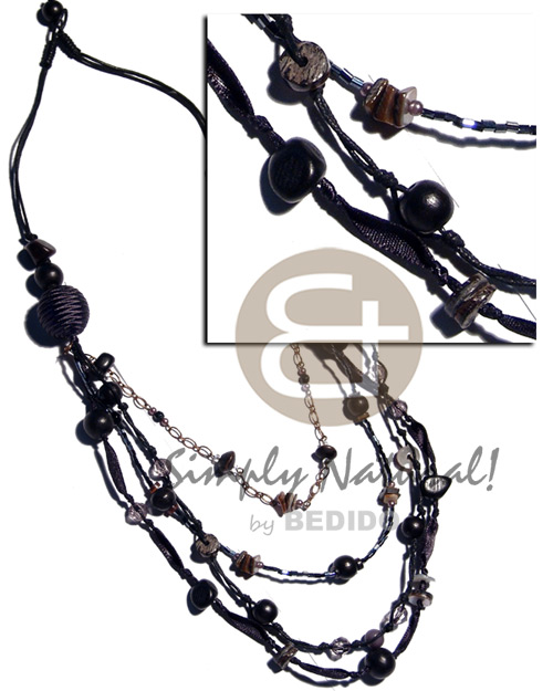 Black 2 layers wax Natural Earth Color Necklace