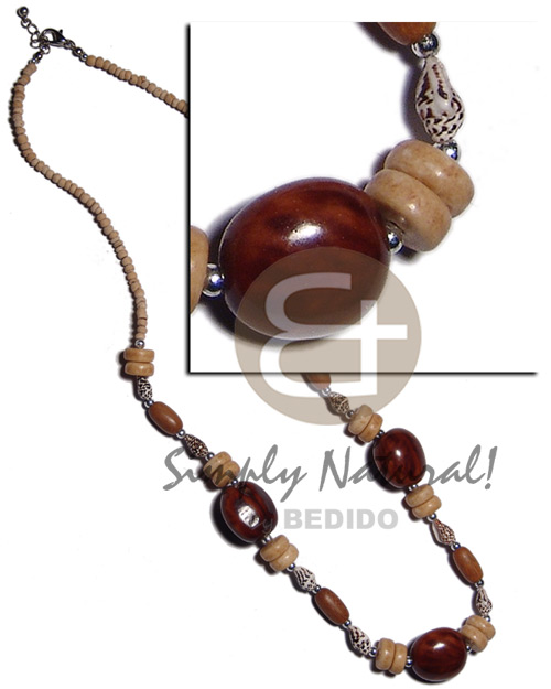 2-3mm coco pokalet natural Natural Earth Color Necklace